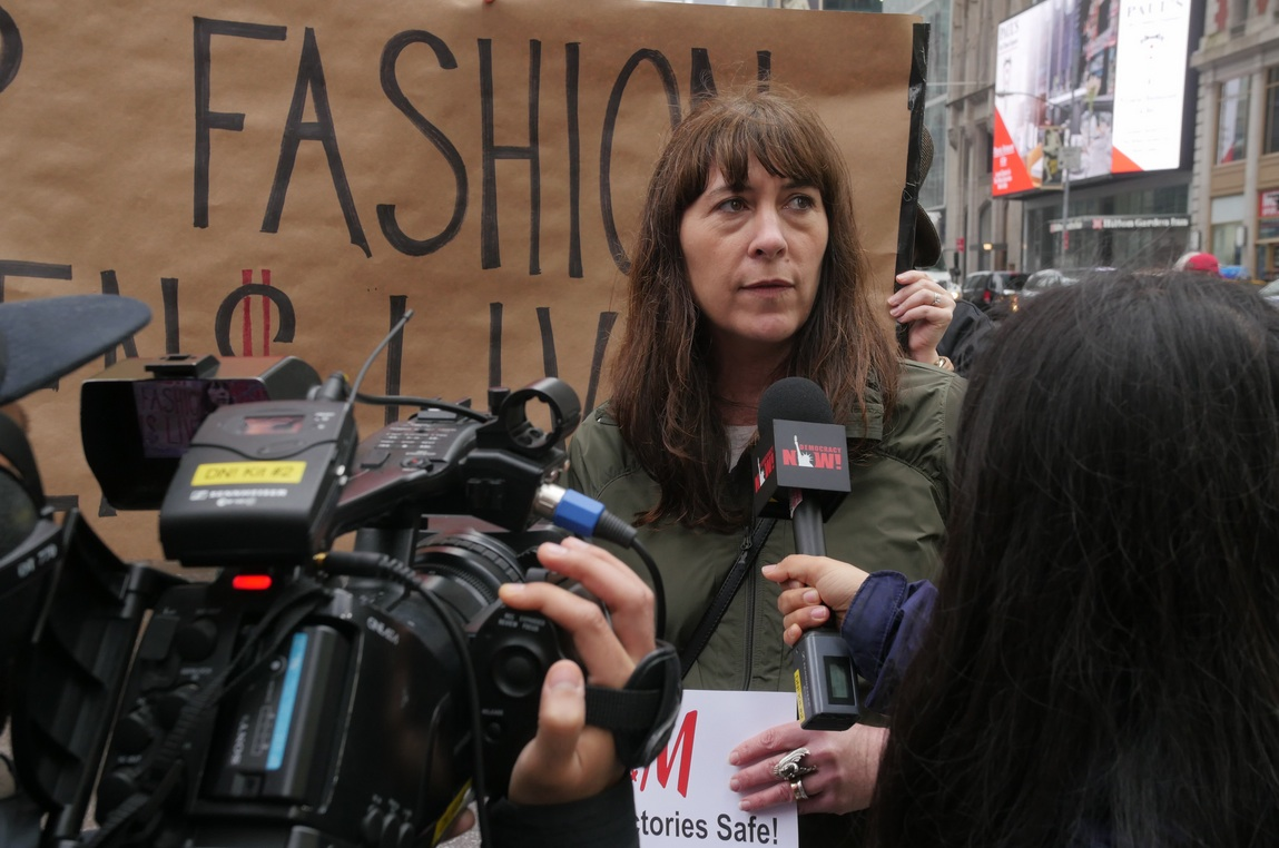 Amy protesting at the Times Square H&M for the International Labor Rights Forum's  Global Day of Action against H&M (May 2016).