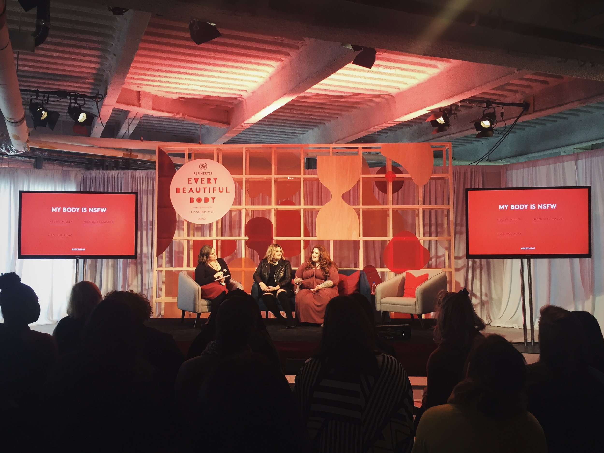 """Nicolette Mason and Tess Holliday speak with Refinery29 contributor Kelsey Miller during the """"My Body is NSFW"""" panel. Photo courtesy Lauren Downing Peters."""