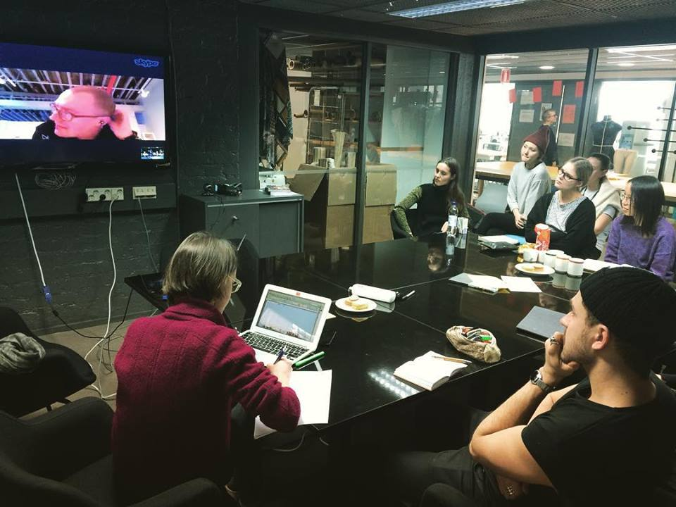 Skype session in February 2016 with Otto von Busch (Parsons School of Design) during the pilot seminar. Photo courtesy the authors.