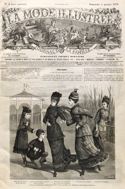 Front cover of  La Mode Illustr  ée,  January 1878. Image courtesy of Kent State University Museum. An identical illustration appeared on the cover of  Der Bazar  in January 1878.
