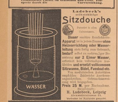 """Sitzdouche"" advertisement in  Der Bazar  1898. Image courtesy of Universitaets- und Landesbibliothek Duesseldorf."