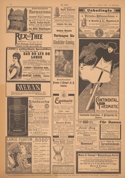 Bicycle advertisement in  Der Bazar  1898. Image courtesy of Universitaets- und Landesbibliothek Duesseldorf.