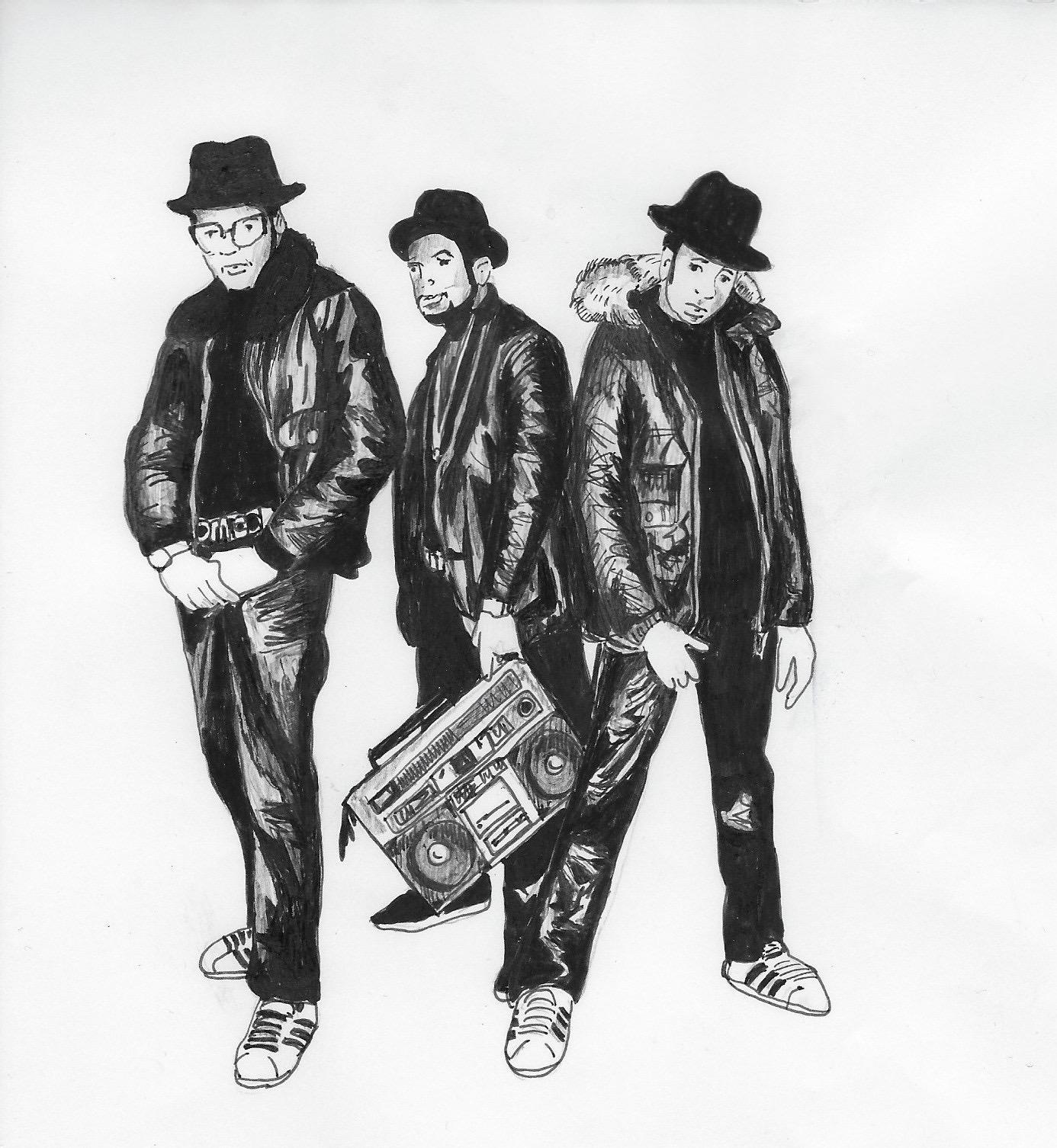 Run D.M.C. Illustration by Catharina Russ.
