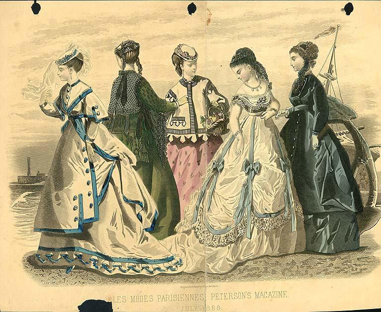 """""""Les Modes Parisiennes.""""  Peterson's Magazine,  July 1868. (From University of Washington Libraries)"""