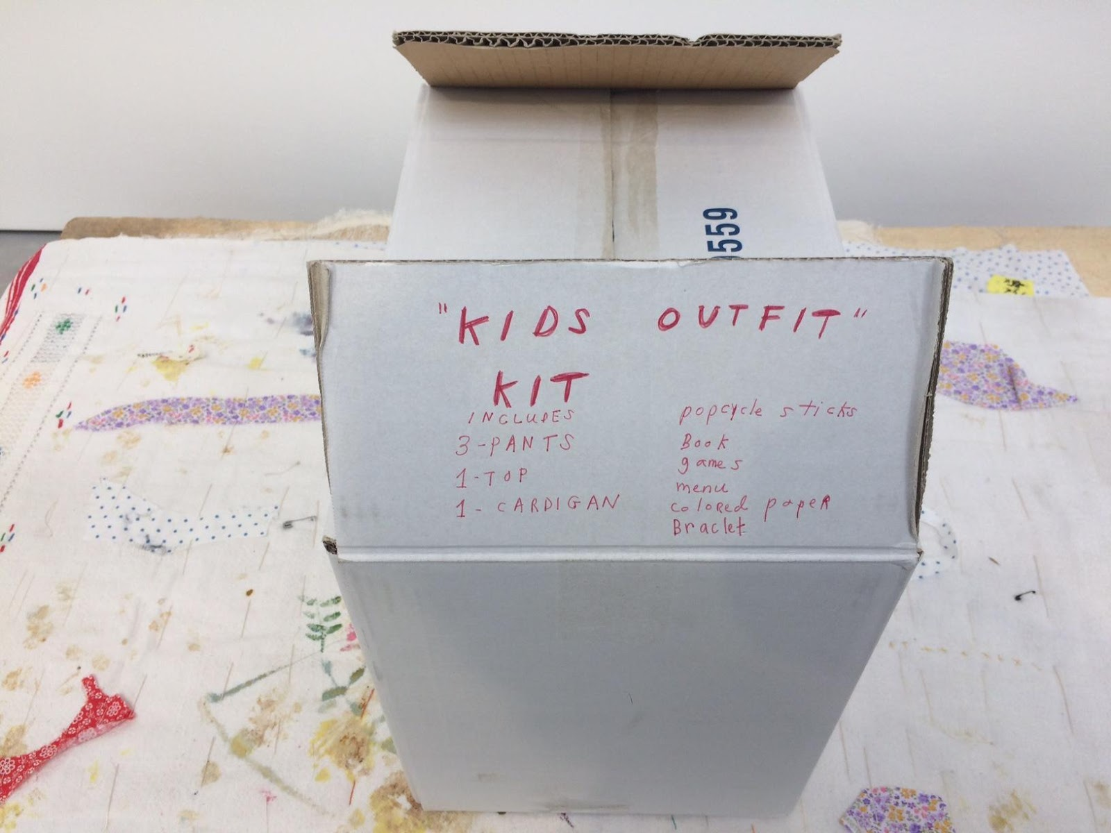 Susan Cianciolo,  Kids Outfit Kit  (2015) on view at Modern Art, London. Photo courtesy the author.