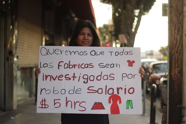 """We Want All the Factories to be Investigated for Wage Theft"" Photo courtesy Garment Worker Center."