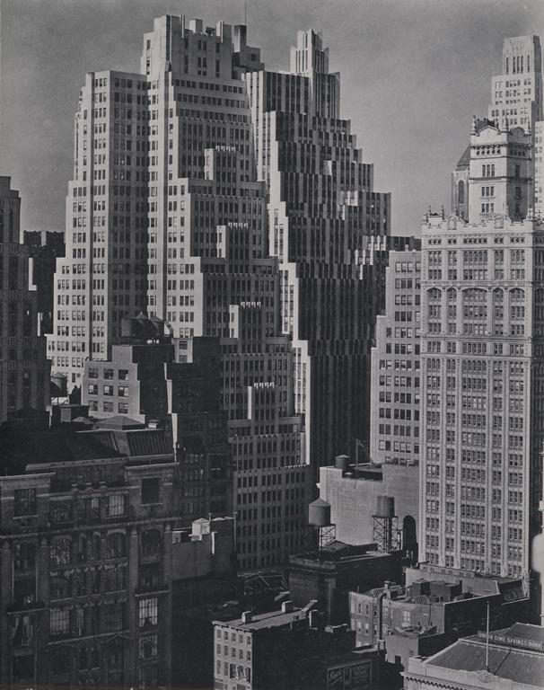 The Garment Center, Fortieth Street Between Sixth and Seventh Avenues, Berenice Abbott, 1938. Works Progress Administration, Collection of The Skyscraper Museum.