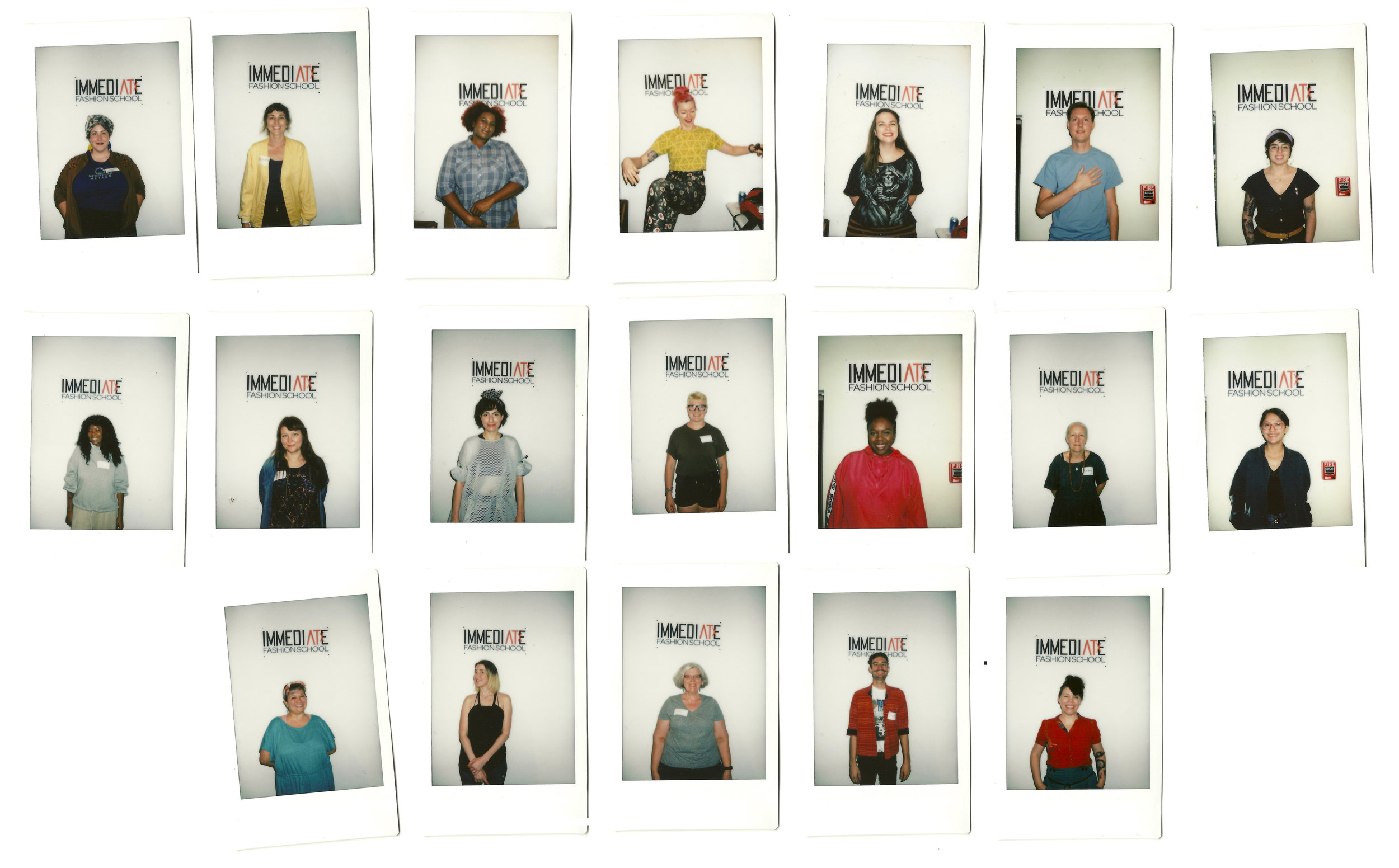 Polaroid photo IDs of the first members of IMMEDIATE Fashion School, October 2017.  Photos: Tina Sparkles