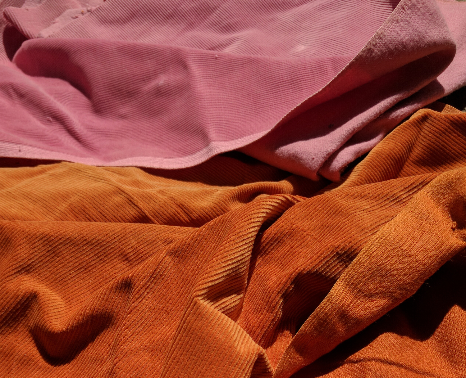 The original velvet that Casini used to make his bell bottoms. Photograph by Federica Pischiutta.