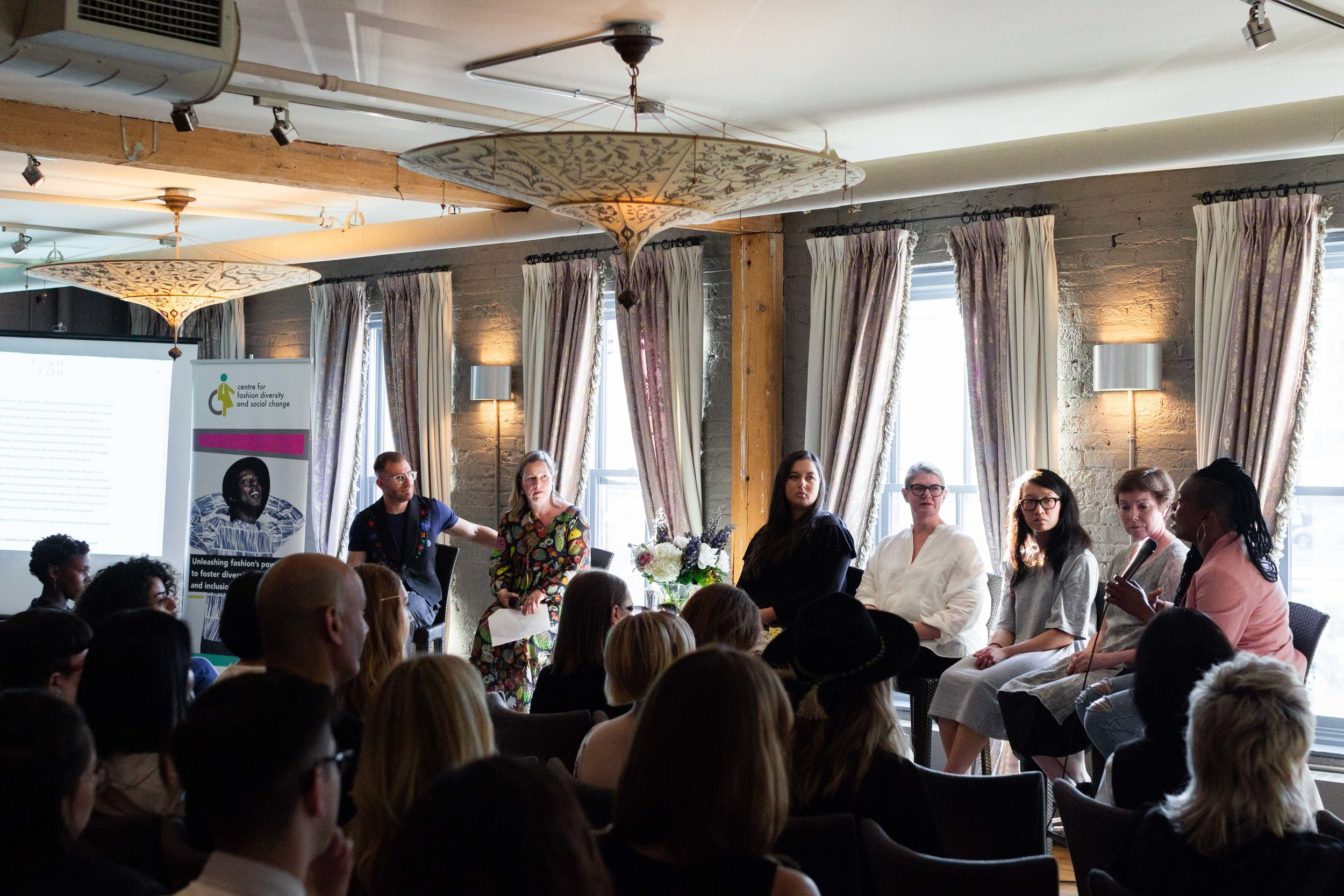 Fashion Studies  Issue 1 launch event, hosted by the Centre for Fashion Diversity & Social Change at Verity, May 2018. Featuring event moderators and panelists (left to right): Dr. Ben Barry, Dr. Alison Matthews David, Lesley Hampton, Elizabeth Semmelhack, Dr. Charlene Lau, Dr. Eliza Chandler, and Keisha McPherson. Photo: Alexander La.
