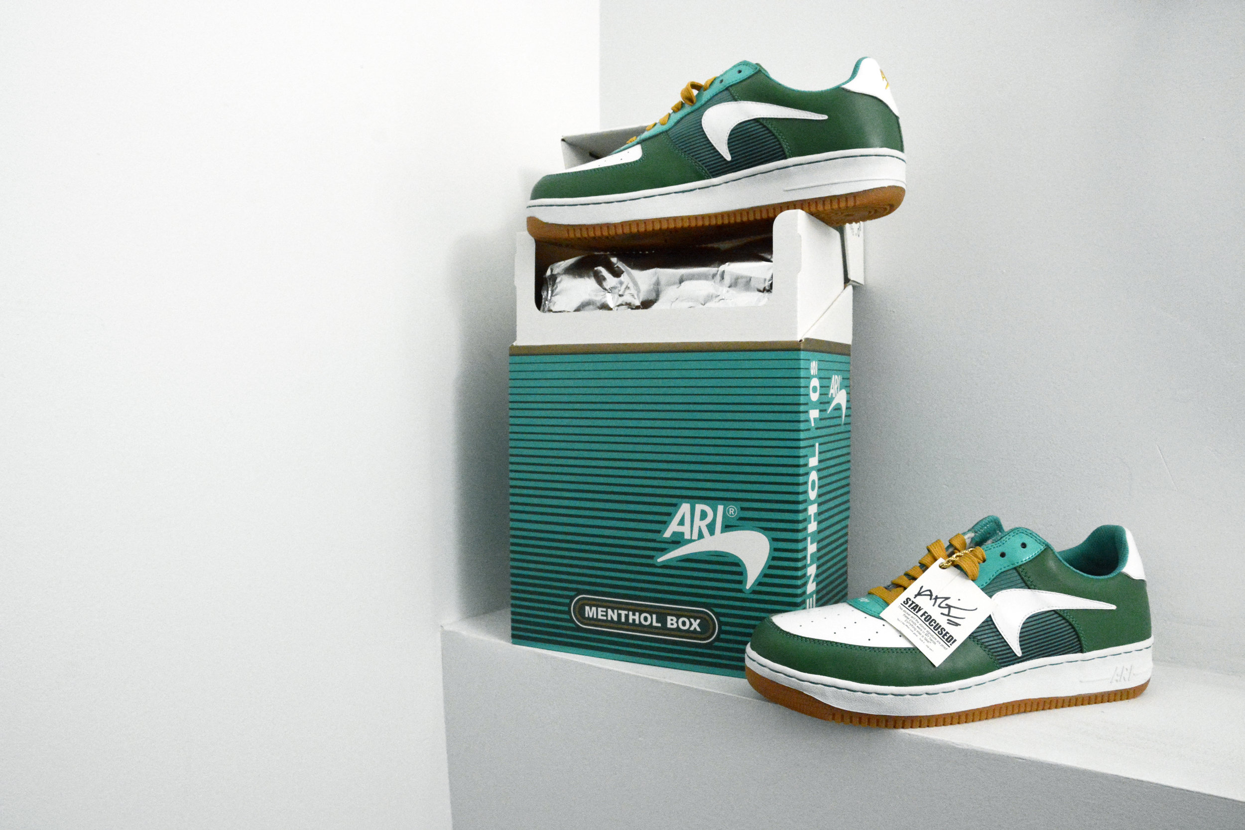 Menthol 10s Sneakers and Box , Ari Saal Forman, 2006. Courtesy of Private Collection. Photographed by Aanchal Bakshi for NYU Costume Studies, 2018. Image © Aanchal Bakshi.