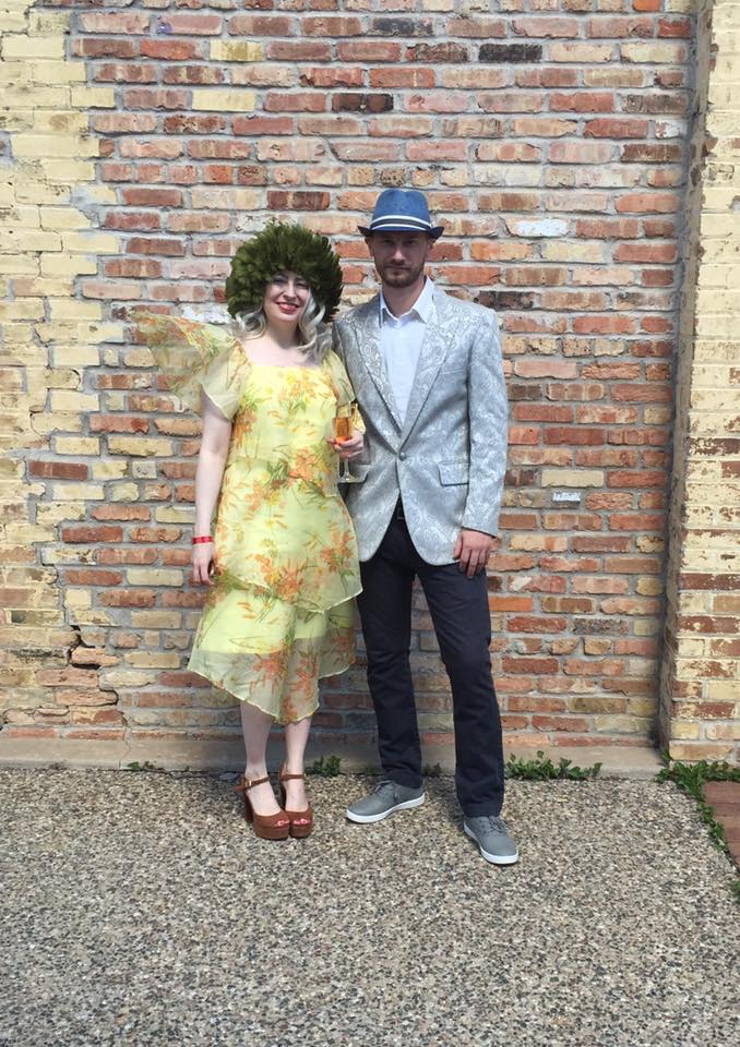 At the Polo for Philanthropy Derby Day party in May 2017 in vintage dress from My Sister's Closet and vintage hat (with my partner Don Greene)