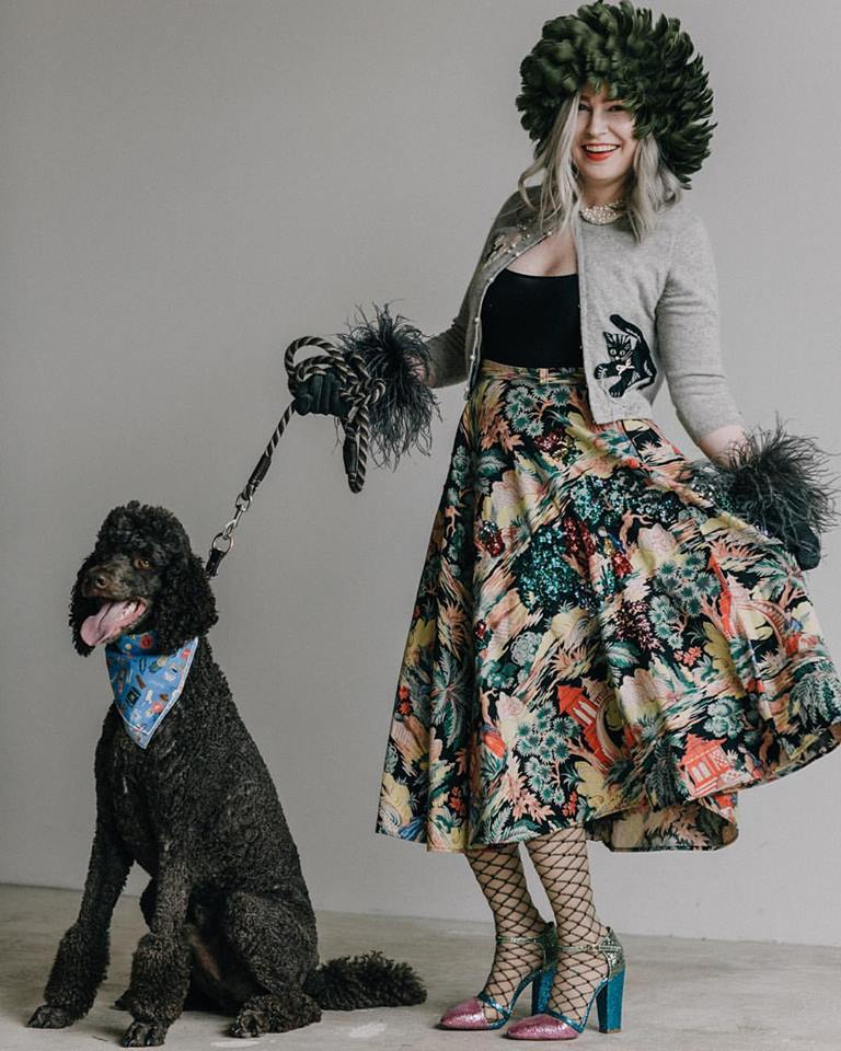 In a promotional image for the Walk the Wooftop fashion show benefiting the Animal Humane Society in August 2017 in vintage skirt from Via's Vintage, Peter Jensen heels from Mona Williams, handmade kitty sweater by Max Lohrbach, and vintage hat and gloves. (Photo: Jessica Zerby)