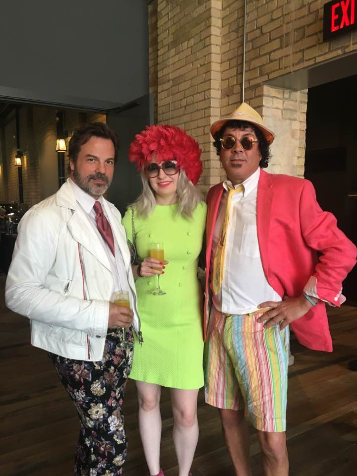 I AM Inspired! April 2017 at Hewing Hotel in vintage dress and hat (with Carter Averbeck and Richard Anderson)