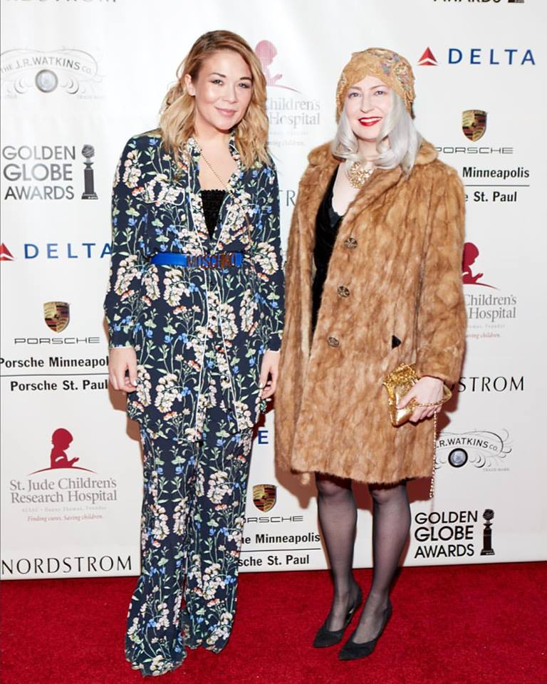 At Red Carpet for Hope for St. Jude's Children's Hospital at the Renaissance Minneapolis Hotel in January 2017 in vintage Young-Quinlan mink and vintage 1920s hat (with Sarah Edwards)