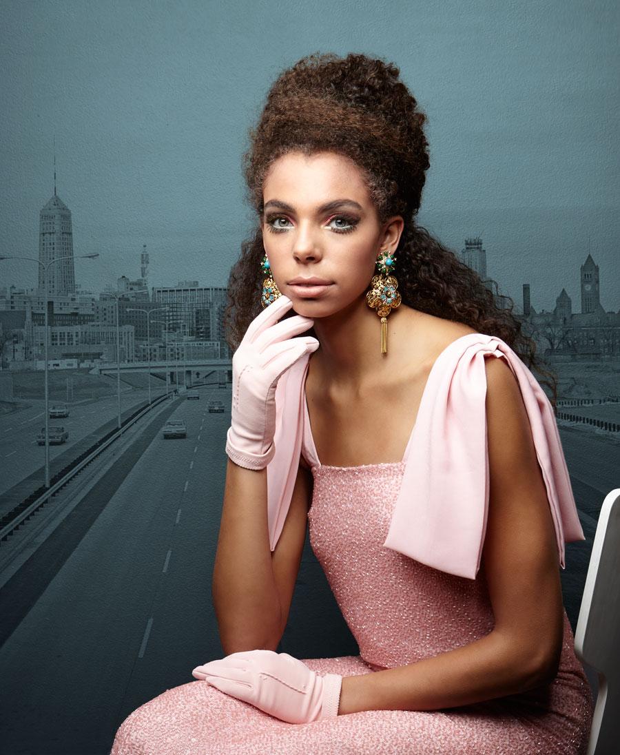 •Caroline Hayden dress, $5,250, inquire @ info@carolinehayden.com •Stephanie Lake Design earrings, $715 @  stephanielakedesign.com  •Vintage gloves, $20 @ the Golden Pearl Vintage,  thegoldenpearlvintage.com