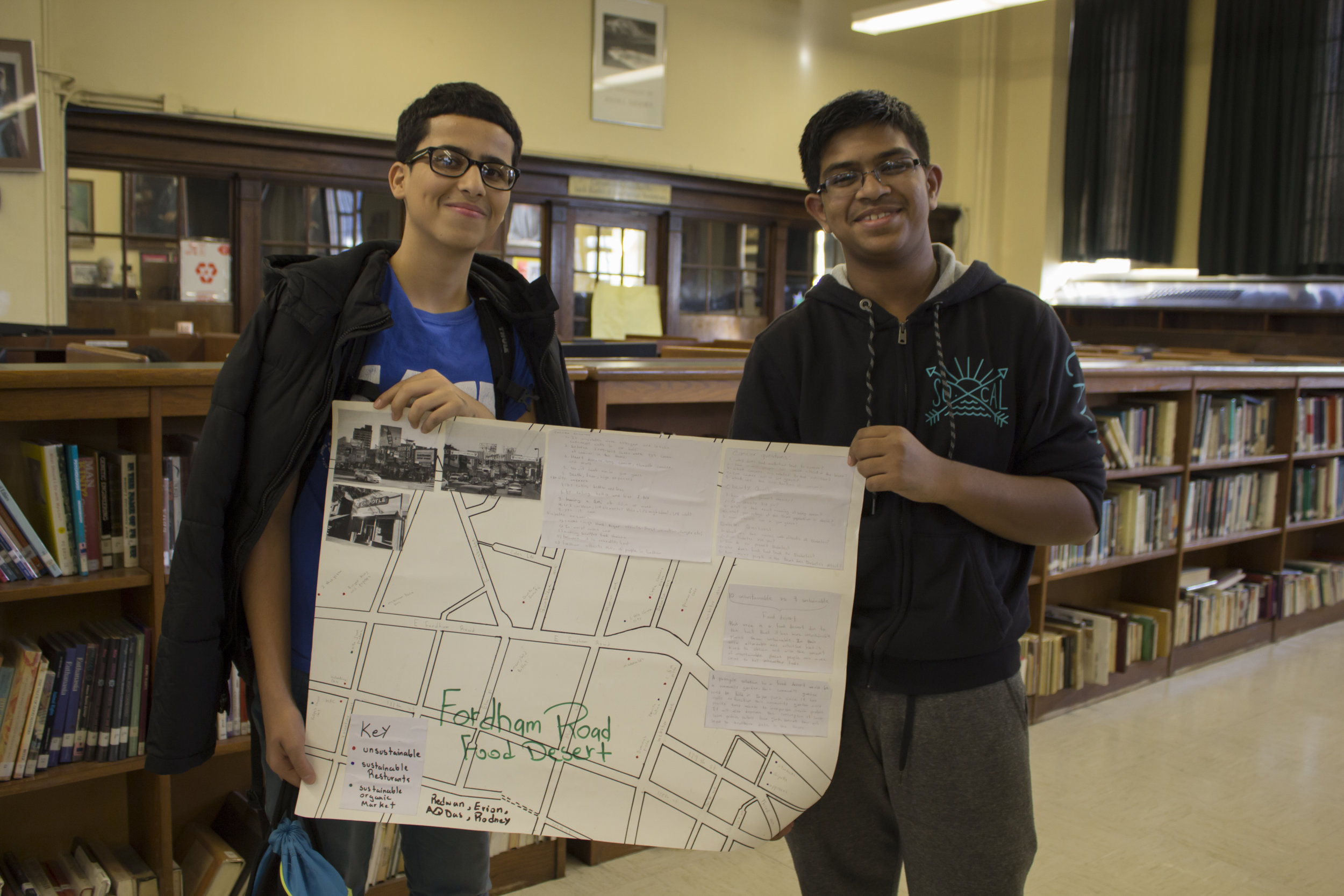 This group identified Fordham Road in the Bronx to be lacking in sustainable food resources, and identified a space where they think a community garden should be established.