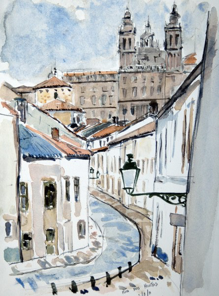 """Rúa das Hortas"", watercolour by Val McLoughlin."