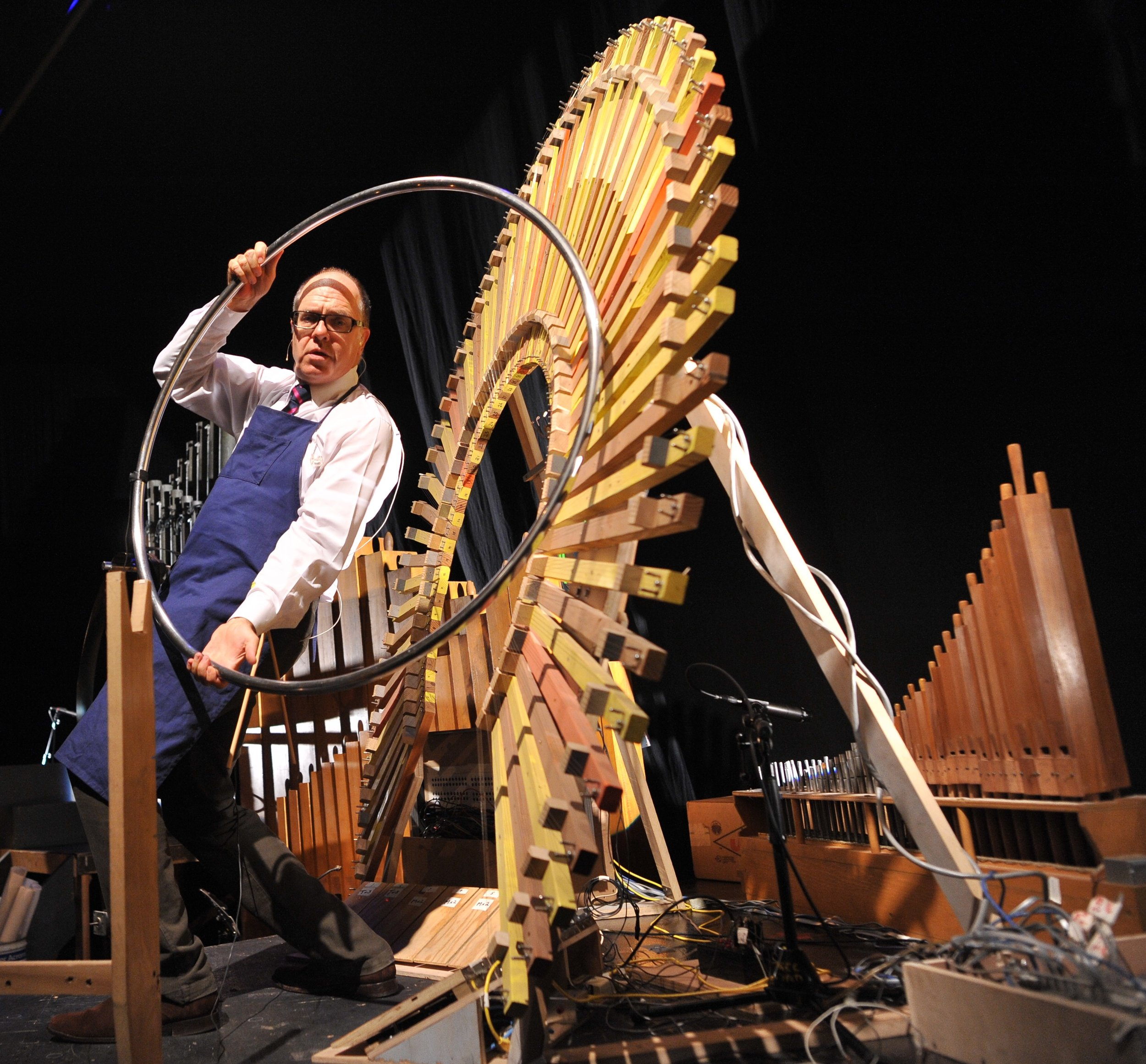 Pictured: Steven Schick at the Peacock in the Paul Dresher Ensemble production of Schick Machine. Photo by Chi Wang.