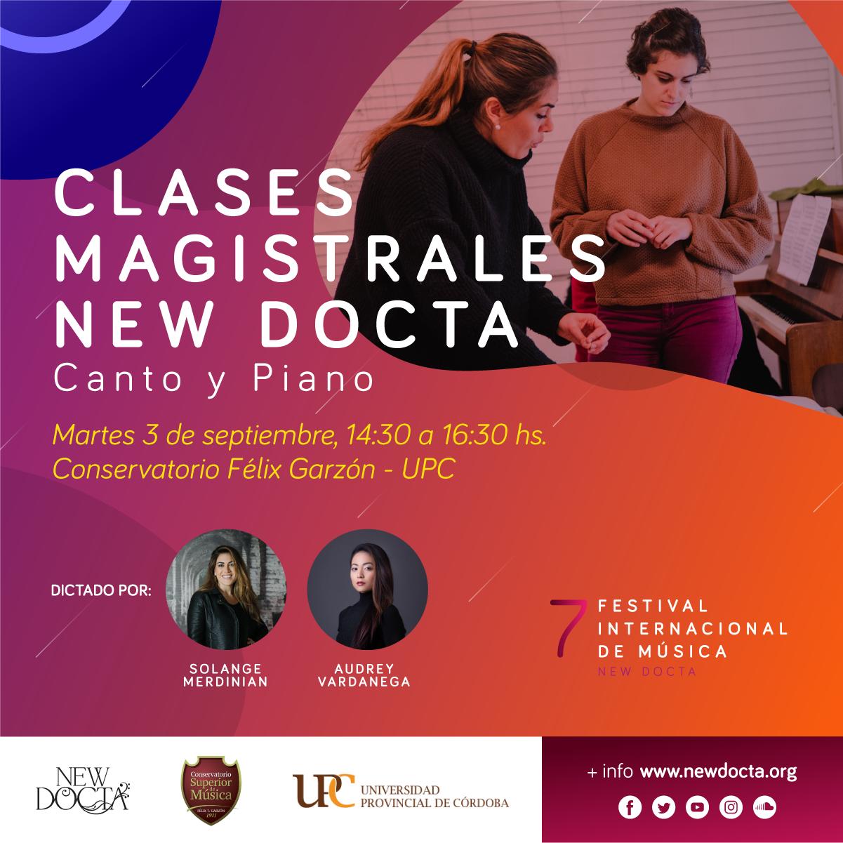 Clase Magistral de Canto y Piano - Martes 3/9/201914:30 a 16:30Conservatorio UPCAv. Pablo Ricchieri 1955, Córdoba