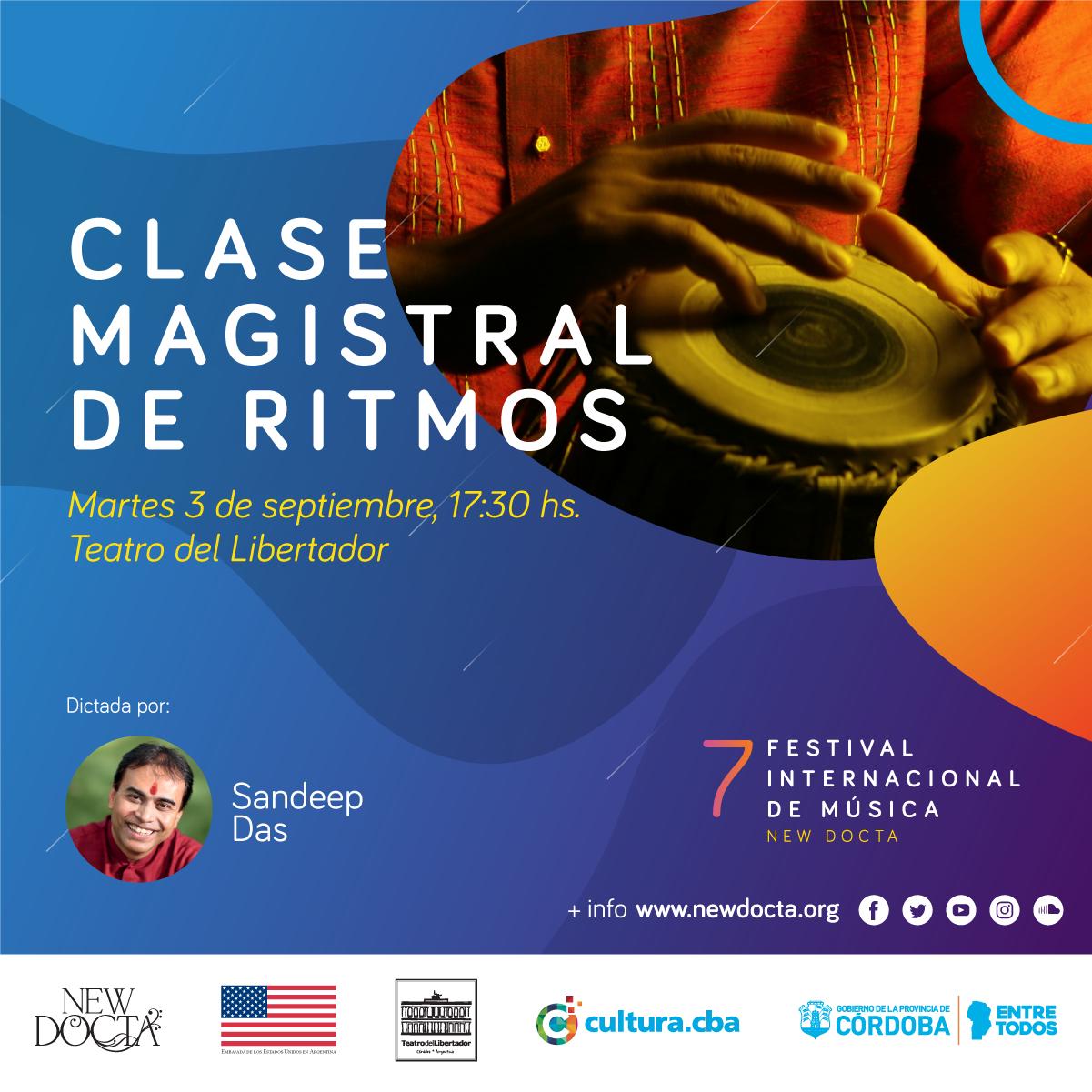 Clase Magistral de Ritmos - Martes 3/9/201917:30 a 18:30Sala Mayor, Teatro del LibertadorVélez Sársfield 365, Córdoba