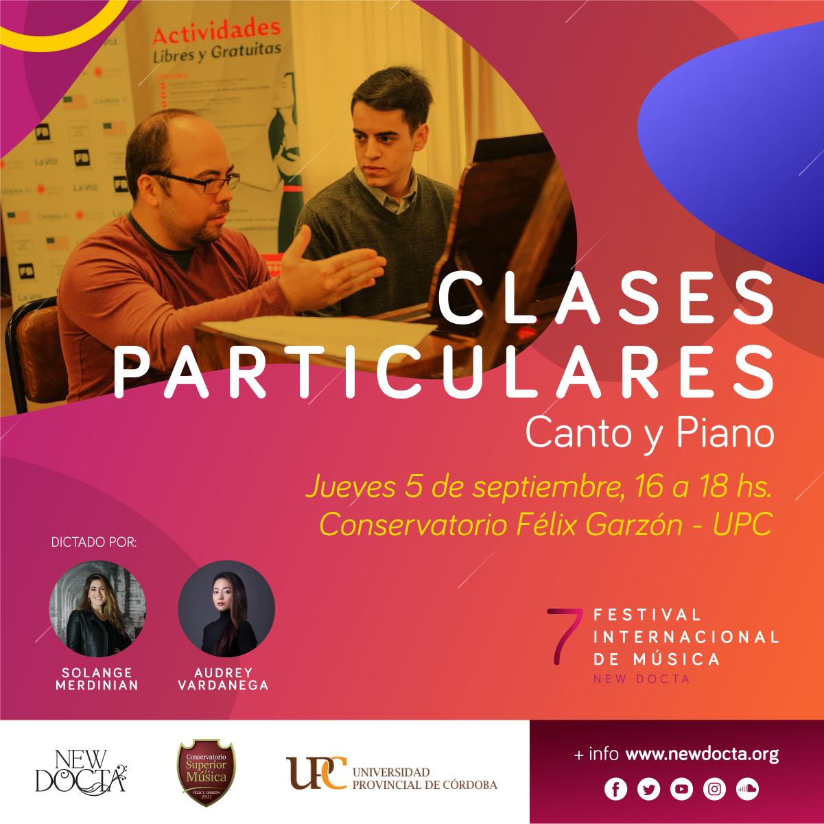 Clases Particulares - Jueves 5/9/201916:00 a 18:00 hs.Conservatorio UPCAv. Pablo Ricchieri 1955, Córdoba