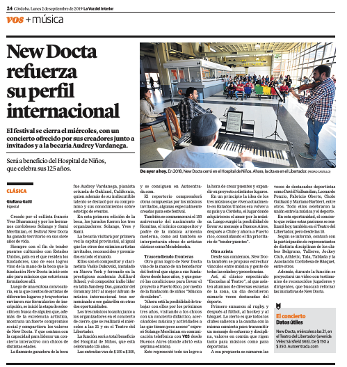 The VII New Docta International Music Festival was a total success. Check out the press coverage - (available in Spanish only)