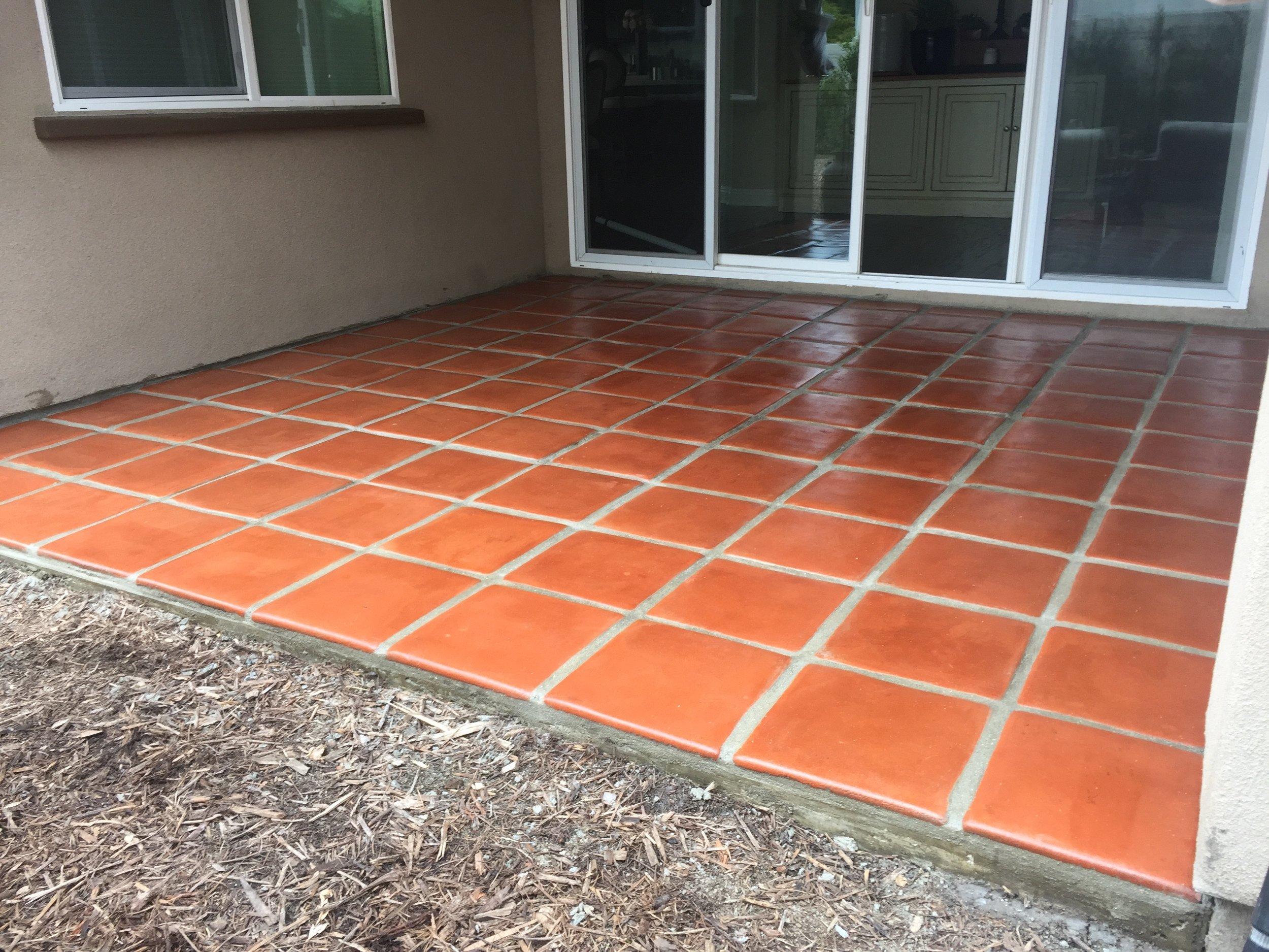 terra-cotta flooring tile install