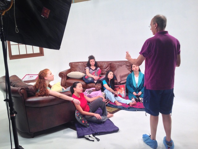 Michael Robins directing the pajama party scene in the film  TOUCH  with the Acting Company ---Calli Kunz, Ming Montgomery, Comfort Dolo, Megan Burns, Stephanie Bertumen and Isabella Star LaBlanc.