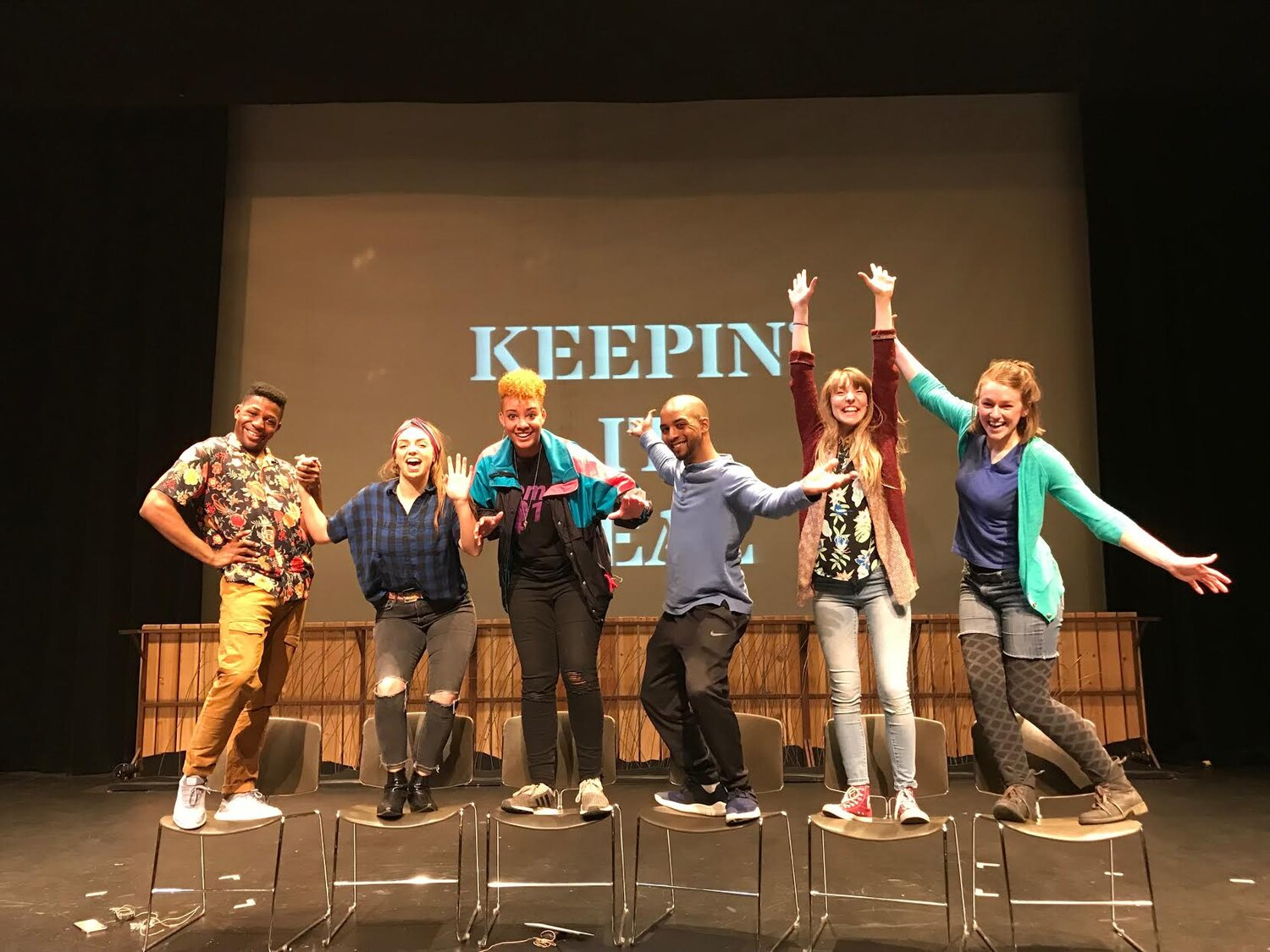 Michael Robins directing the 2016 TOUCH for the Next Generation Acting Company ---Calli Kunz, Ming Montgomery , Comfort Dolo, Megan Burns, Stephanie Bertumen and Isabella Star LaBlanc.