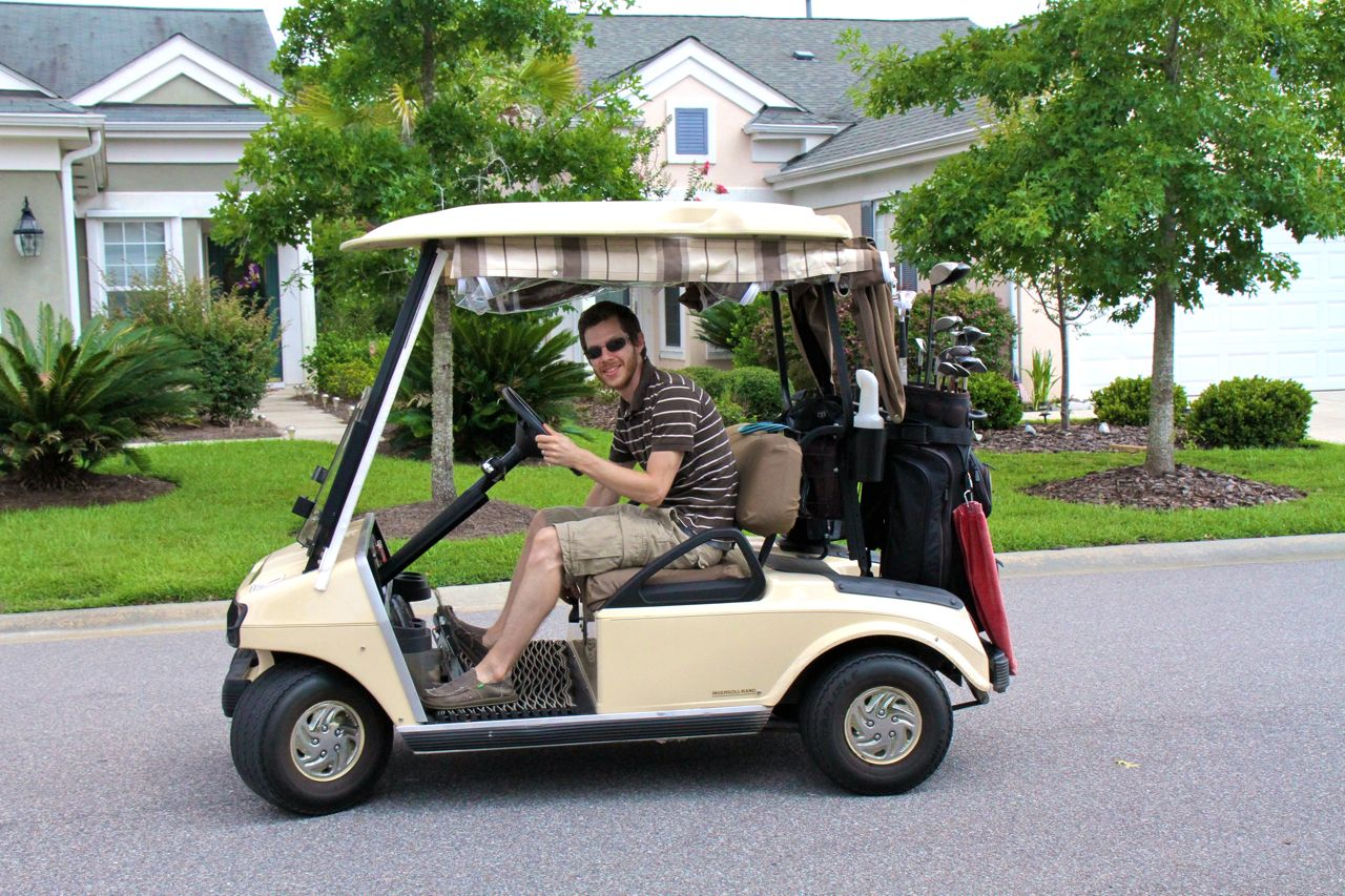 Back in Bluffton, first time driving a golf cart