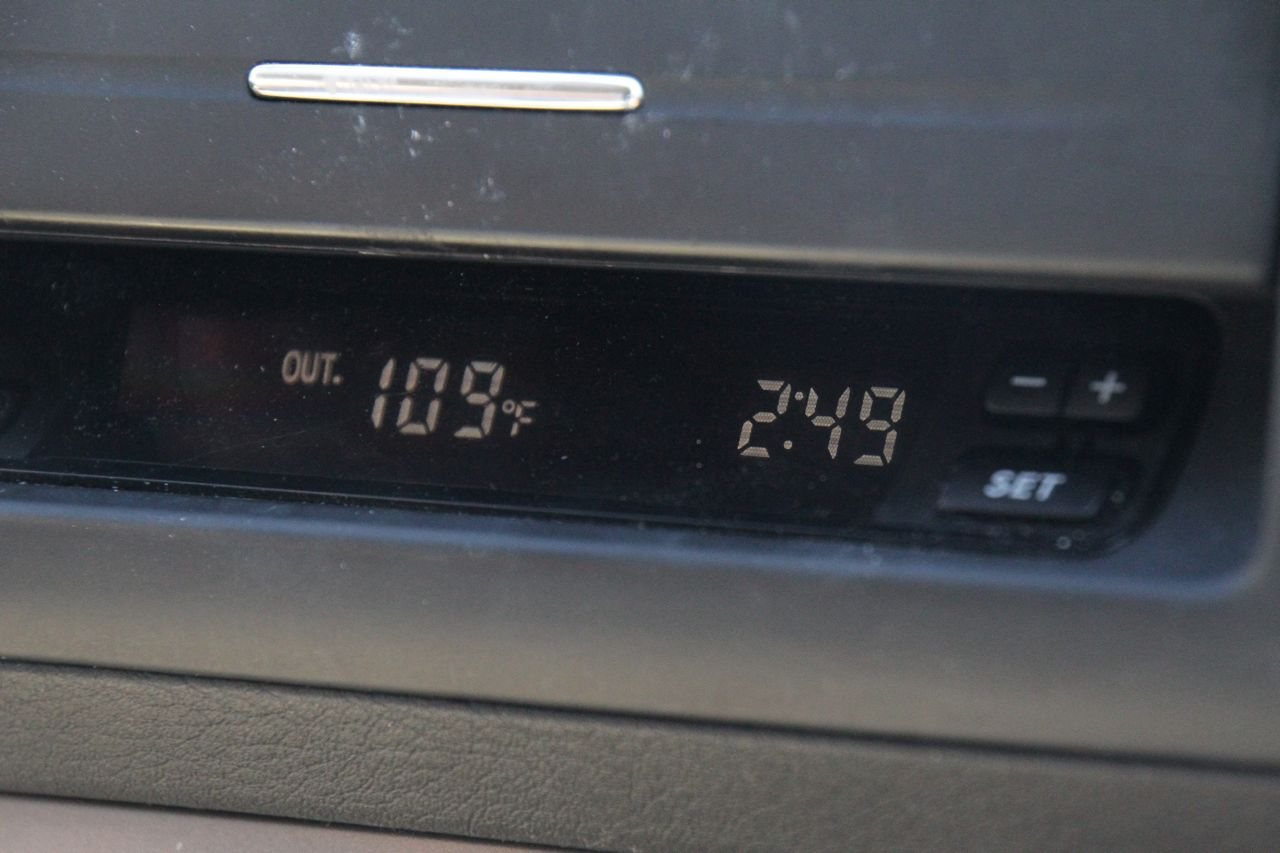 Dashboard temperature reading as we entered Vegas