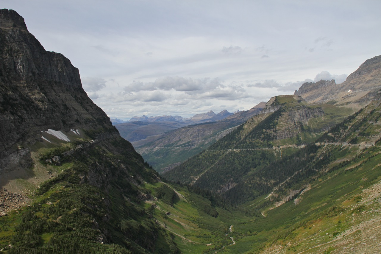 Glacier National Park -  The faint line on the mountain to the right is the Going-To-The-Sun road!