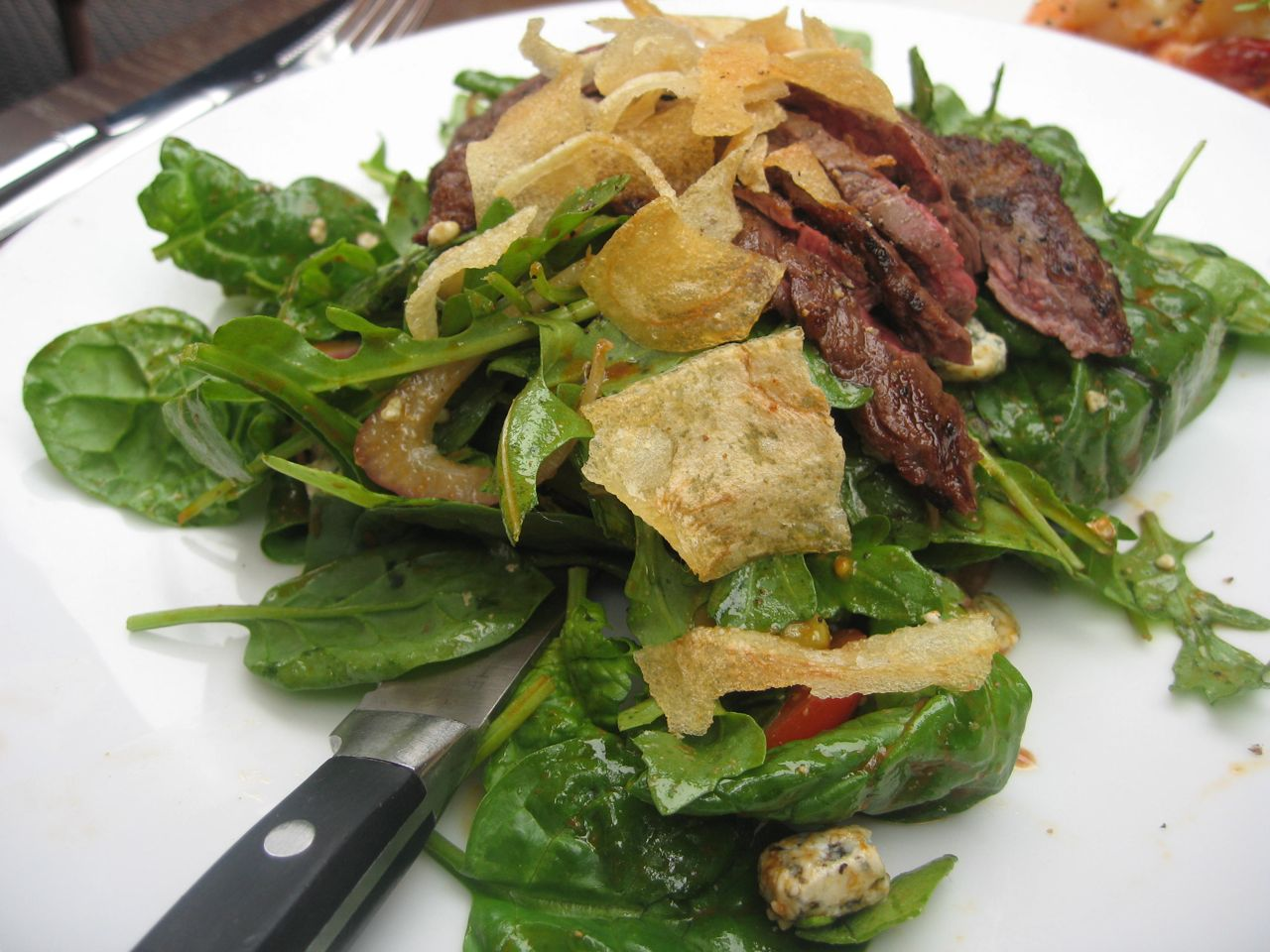 Steak salad at Basil