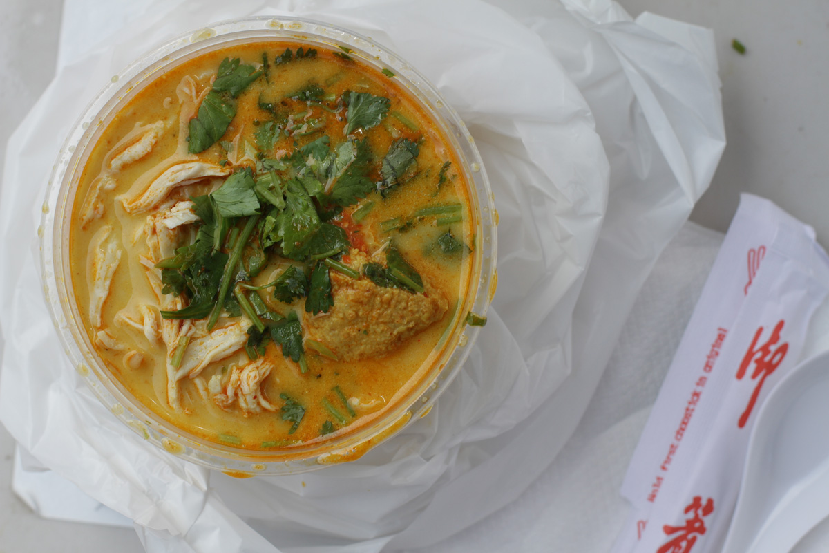 Laksa, an Indonesian curry soup