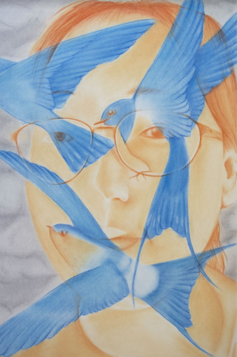 """Chenxi Gao    Self Portrait with Birds,  Pastel and Colored Pencil on Paper, 16"""" x 23"""""""