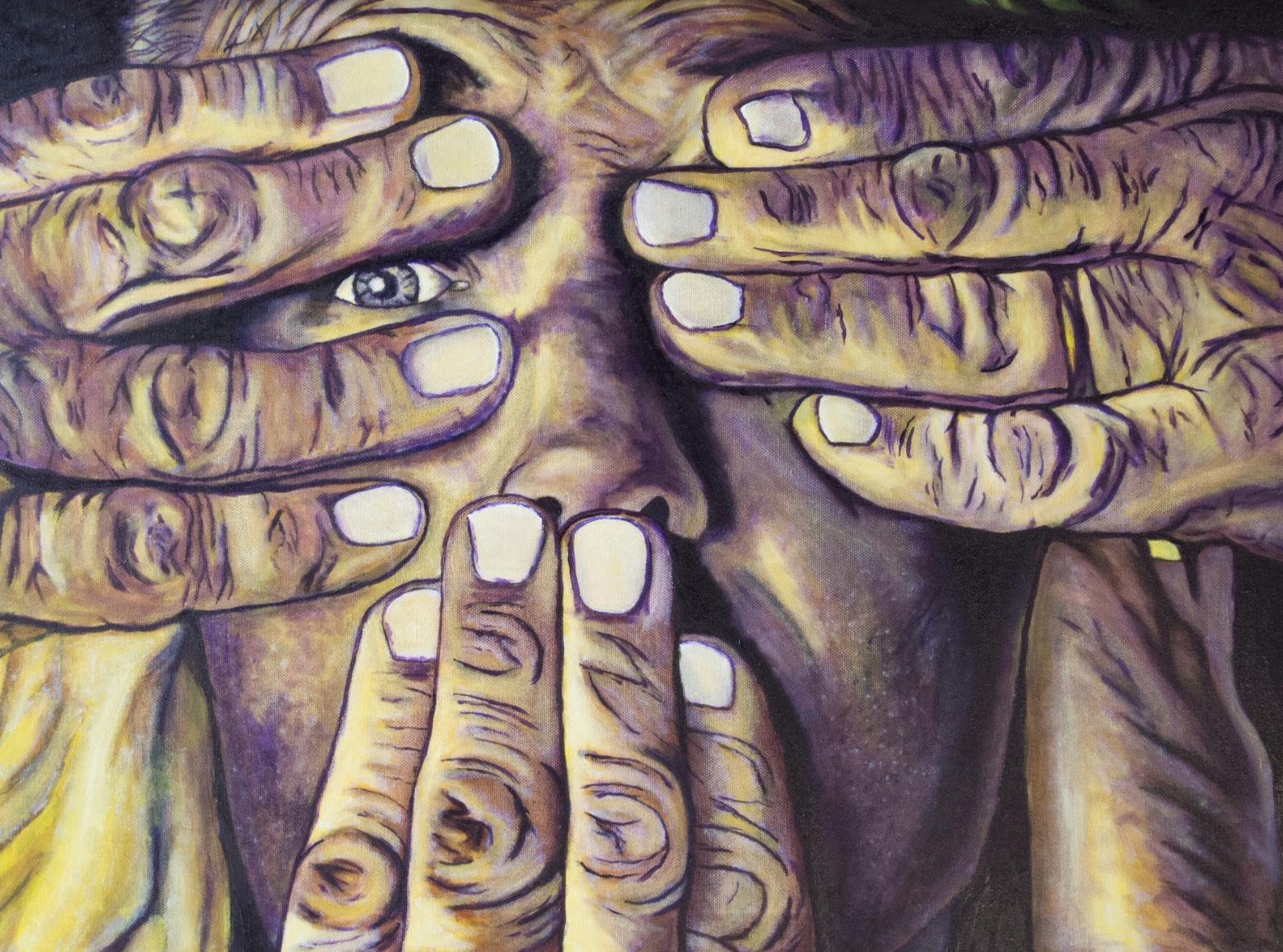 """Vanessa Matta    Hear no, Speak no, Hear a Little,  Acrylic and Oil on Canvas, 18"""" x 24"""""""
