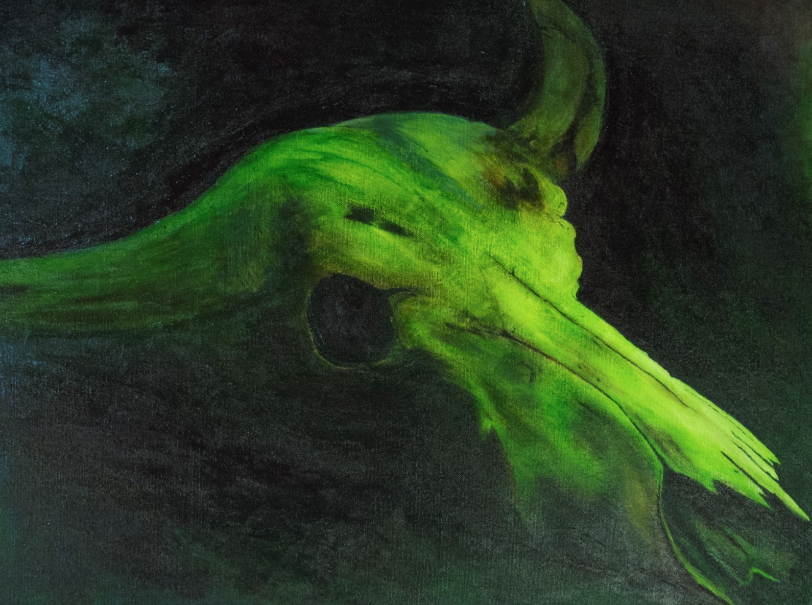 """Vanessa Matta    Green with Decay,  Acrylic and Oil on Canvas, 18"""" x 24"""""""