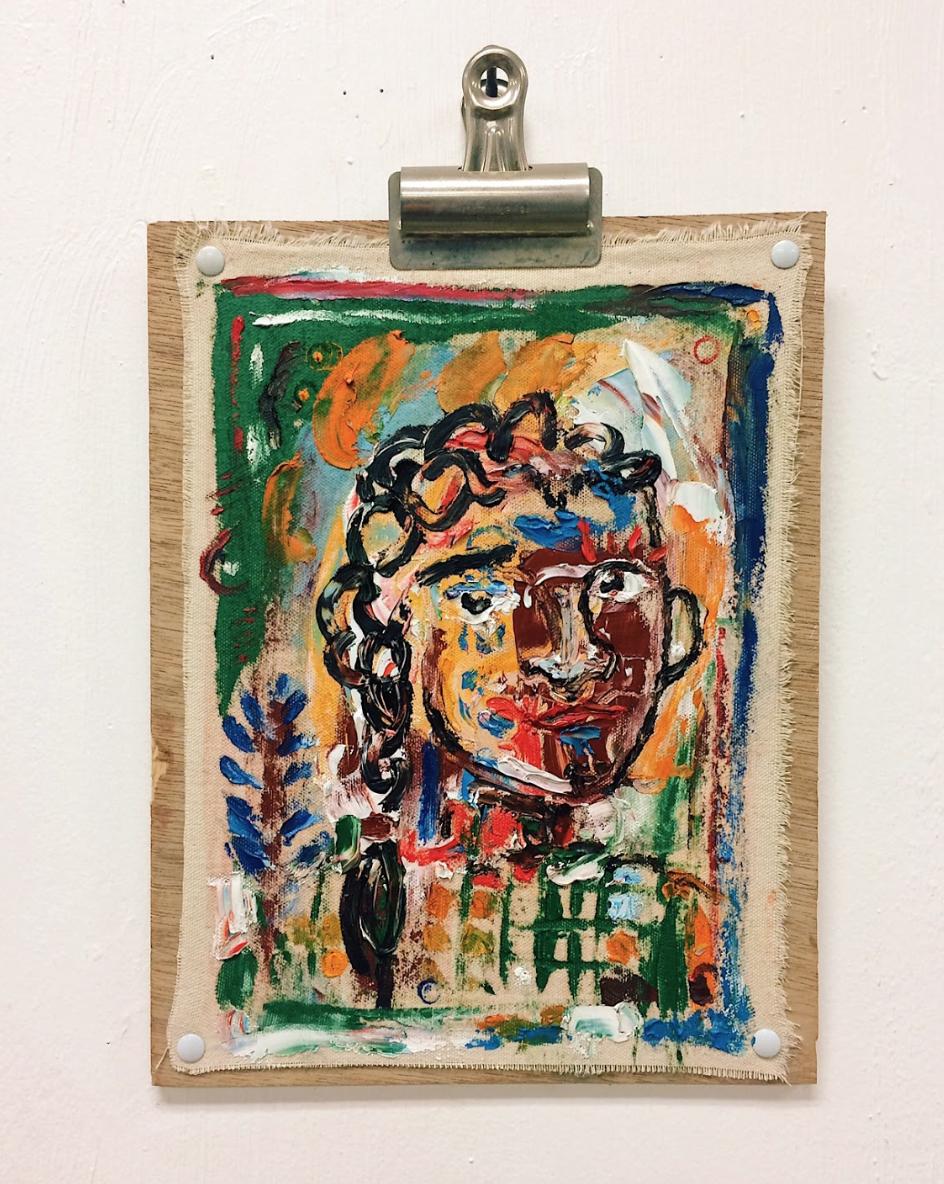 """Fence Climber, Oil on Raw Canvas, 9"""" x 12"""""""
