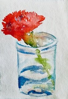 "Emily Martinka    Red Carnation,  Watercolor on Paper, 4"" x 6"", 2019"