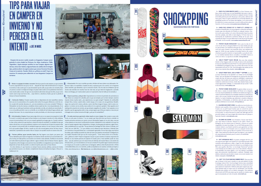 Snowplanet issue 95, Spanish snowboard magazine has published an article about tips for traveling in a campervan in winter time.