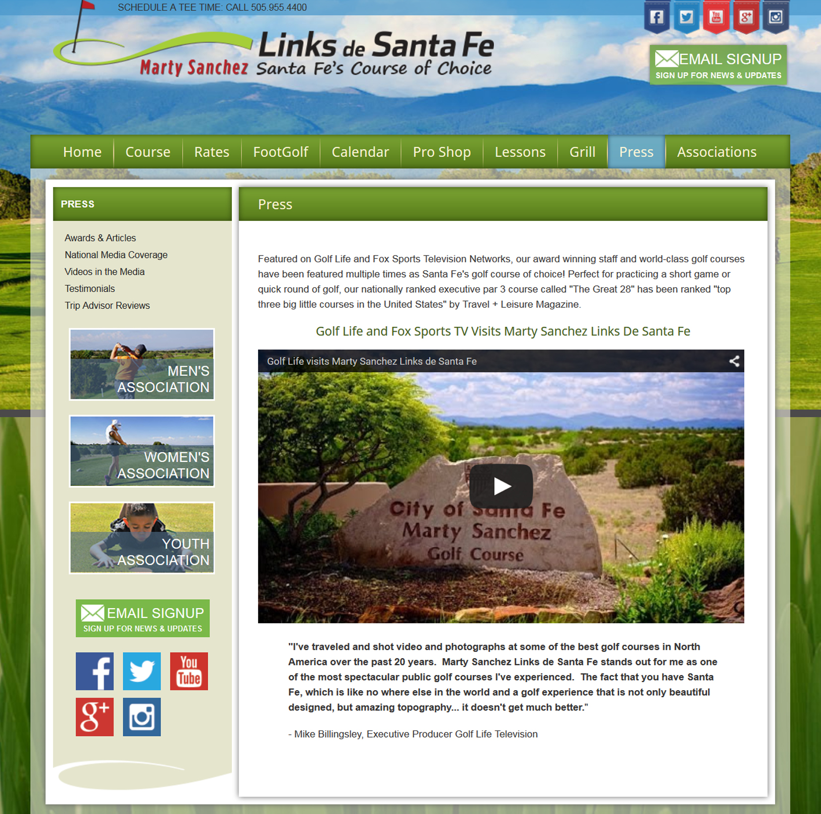 Marty Sanchez Links de Santa Fe Website - Press Section - Henry Gerard Lucero