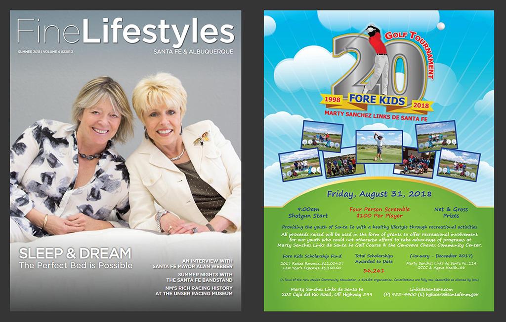 Print & Publishing Advertisements- Fine Lifestyles Magazine - 20th Anniversary Fore Kids Golf Tournament - Marty Sanchez Links de Santa Fe Golf Course