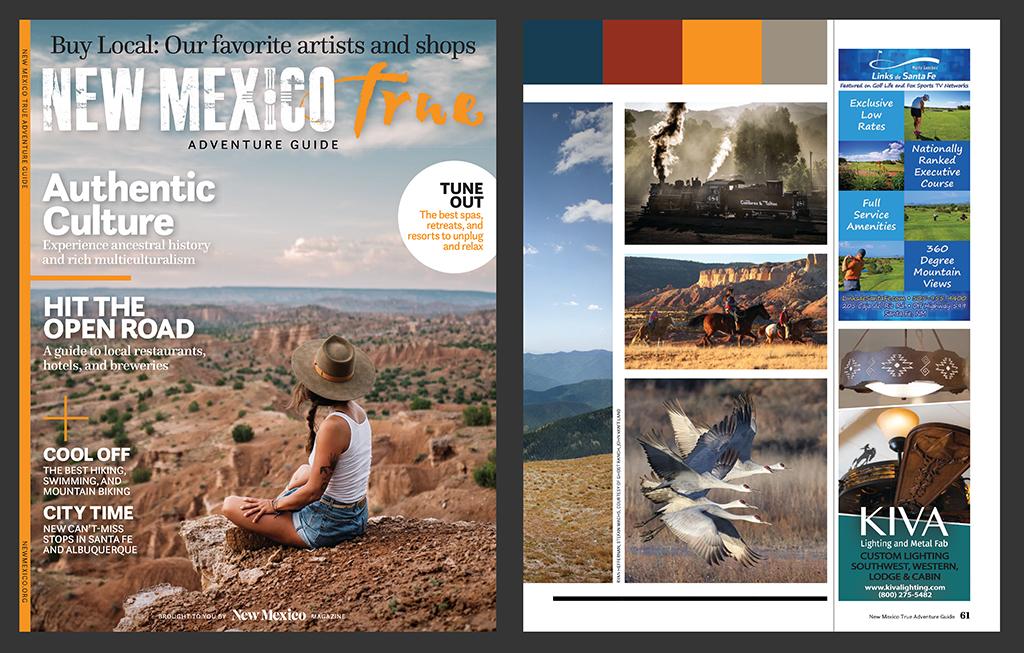 Print & Publishing Advertisements- 2019 New Mexico True Adventure Guide- Marty Sanchez Links de Santa Fe Golf Course - Henry Gerard Lucero