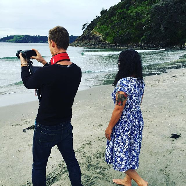"Nikki Ngatai filming for the song "" INLOVEWITHMYENEMY"" #drumnbass #wisowaiheke #newvideo #waihekeinternationalsoulorchestra"