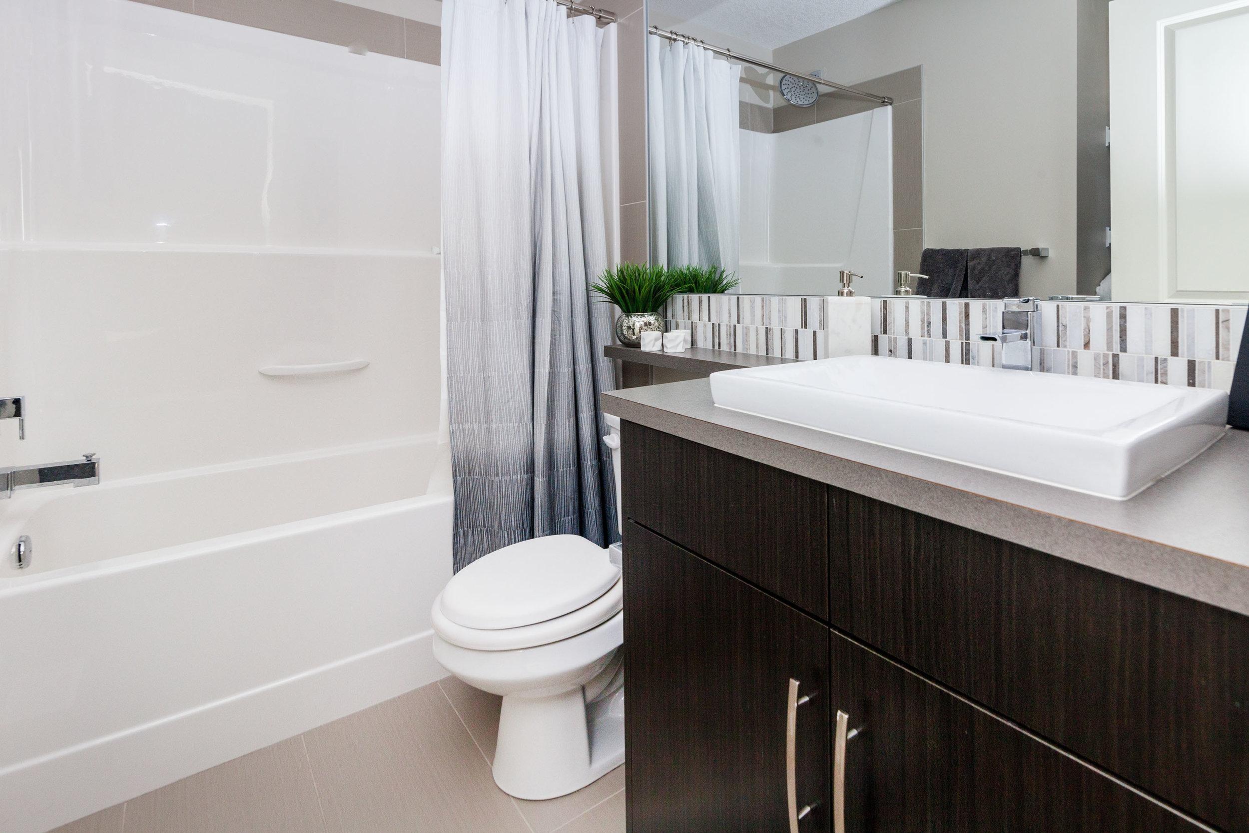 Basement bathroom with tub