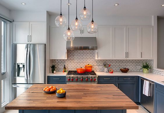 Two toned kitchen with mixed metals