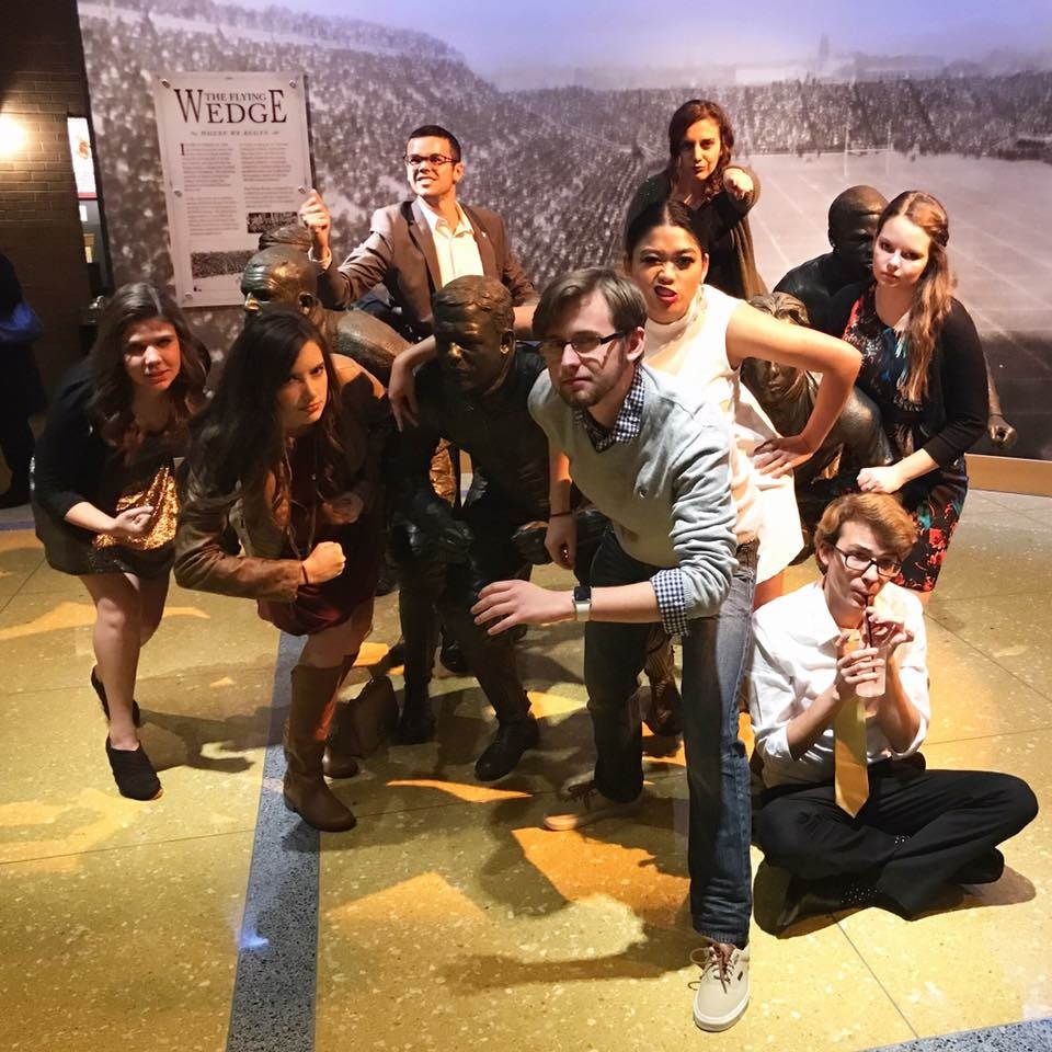 My friends and I posing as a team at the NCAA Hall of Champions when we helped facilitate a national high school journalism convention in Indianapolis, Indiana last fall.
