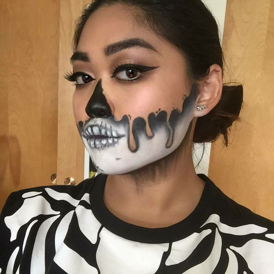 I freehanded this last Halloween when I posed as a skeleton that day. It took a few practice runs, but I enjoyed the final result.