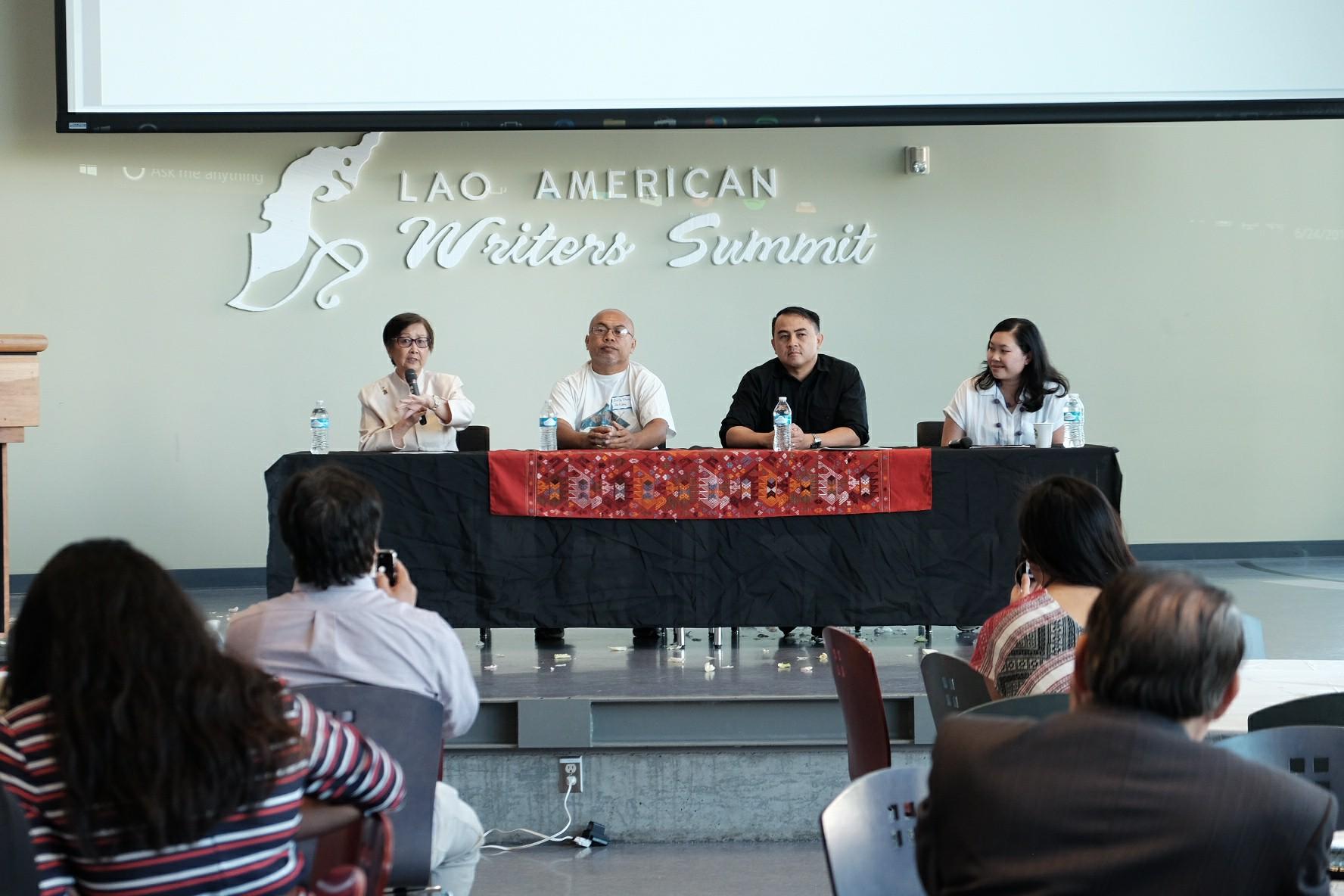 Literary Panel: Khaythong, Alisak, Steve and Chanida  Photo by  Dennis Wtpho  of  Khom Photography